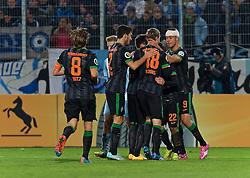 28.10.2014, Stadion an der Gellertstra&szlig;e, Chemnitz, GER, DFB Pokal, Chemnitzer FC vs SV Werder Bremen, 2. Runde, im Bild Bremer Jubel nach dem F&uuml;hrungstreffer durch Fin Bartels (SV Werder Bremen #22) f&uuml;r die G&auml;ste // during German DFP Pokal 2nd round match between Chemnitzer FC and SV Werder Bremen at the Stadion an der Gellertstra&szlig;e in Chemnitz, Germany on 2014/10/28. EXPA Pictures &copy; 2014, PhotoCredit: EXPA/ Andreas Gumz<br /> <br /> *****ATTENTION - OUT of GER*****