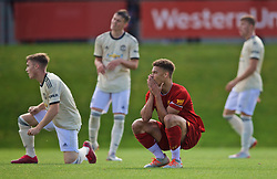 KIRKBY, ENGLAND - Saturday, August 31, 2019: Liverpool's captain Fidel O'Rourke looks dejected after missing a chance during the Under-18 FA Premier League match between Liverpool FC and Manchester United at the Liverpool Academy. (Pic by David Rawcliffe/Propaganda)