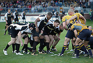 West Point, NY - Army and Navy players line up for a scrum during a rugby match at the Anderson Rugby Center at the United States Military Academy on  Nov. 21, 2009. ©Tom Bushey / The Image Works