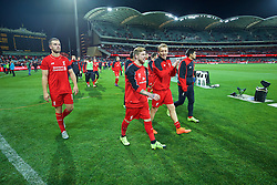 ADELAIDE, AUSTRALIA - Monday, July 20, 2015: Liverpool's captain Jordan Henderson, Alberto Moreno and Lucas Leiva applaud the supporters after the 2-0 victory over Adelaide United during a preseason friendly match at the Adelaide Oval on day eight of the club's preseason tour. (Pic by David Rawcliffe/Propaganda)