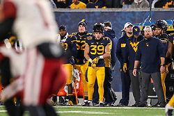 Nov 23, 2018; Morgantown, WV, USA; West Virginia Mountaineers safety Dante Bonamico (39) along the sidelines during the third quarter against the Oklahoma Sooners at Mountaineer Field at Milan Puskar Stadium. Mandatory Credit: Ben Queen-USA TODAY Sports