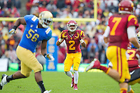 17 October 2012: Wide receiver (2) Robert Woods of the USC Trojans waits for a pass from (7) Matt Barkley while playing against the UCLA Bruins during the second half of UCLA's 38-28 victory over USC at the Rose Bowl in Pasadena, CA.