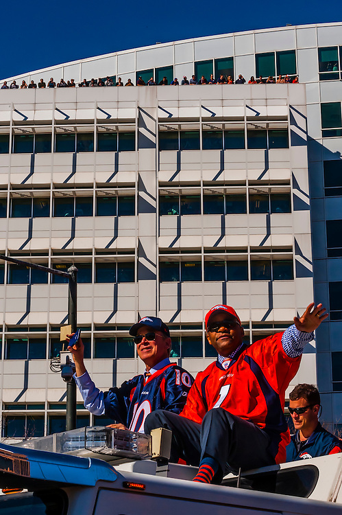 Colorado Governor John Hickenlooper (L) and Denver Mayor Michael Hancock (R), Denver Broncos Super Bowl 50 Victory Parade, Downtown Denver, Colorado USA.