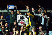Fans of Stefanos Tsitsipas of Greece with their banner during the Nitto ATP Finals at the O2 Arena, London, United Kingdom on 15 November 2019.