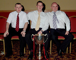 Kenneth Gannon, Brian Kennedy and Martin 'Sparky' Halpin.are pictured enjoying the awards presentation at the Westport United dinner Dance that was held at the Castlecourt hotel recently...Photograph by Conor McKeown
