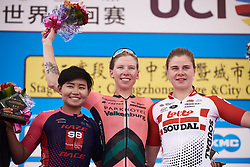 Top three on the stage: Lorena Wiebes (NED), Jutatip Maneephan (THA) and Lotte Kopecky (BEL) at Tour of Chongming Island 2019 - Stage 3, a 118.4 km road race on Chongming Island, China on May 11, 2019. Photo by Sean Robinson/velofocus.com