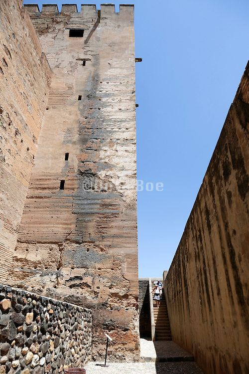 The tribute tower inside the Alhambra Alcazaba section Granada Spain