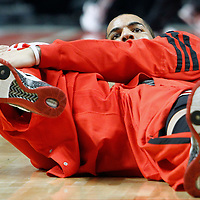 12 March 2012: Chicago Bulls power forward Carlos Boozer (5) stretches prior to the Chicago Bulls 104-99 victory over the New York Knicks at the United Center, Chicago, Illinois, USA.