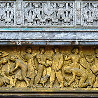 Frieze Above Entrance of City Hall in Oslo, Norway <br />