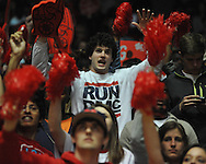 "Ole Miss fans cheer vs. Mississippi State at the C.M. ""Tad"" Smith Coliseum on Wednesday, February 6, 2013."