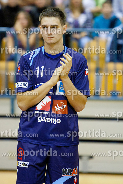 Sebastian Skube of team Slovenia during memorial game between National handball team of Slovenia and RK Celje Pivovarna Lasko as a tribute to former Slovenian and Croatian handball palyer Iztok Puc. He was one of the world's top handball players of the 1980s and 1990s. He died of leukemia on October 20, 2011 during treatment in USA, 46-years old. The humanitarian event was held on November 5, 2011 in Arena Zlatorog, Celje, Slovenia. (Photo by Urban Urbanc / Sportida Photo Agency)