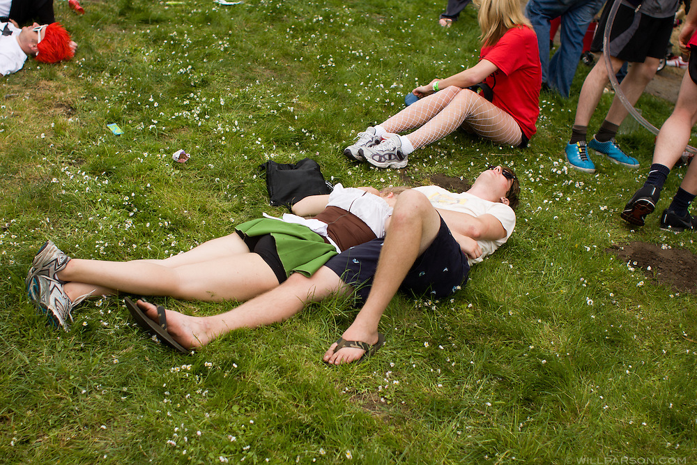 Participants and spectators enjoy the Bay to Breakers footrace, May  18, 2008.