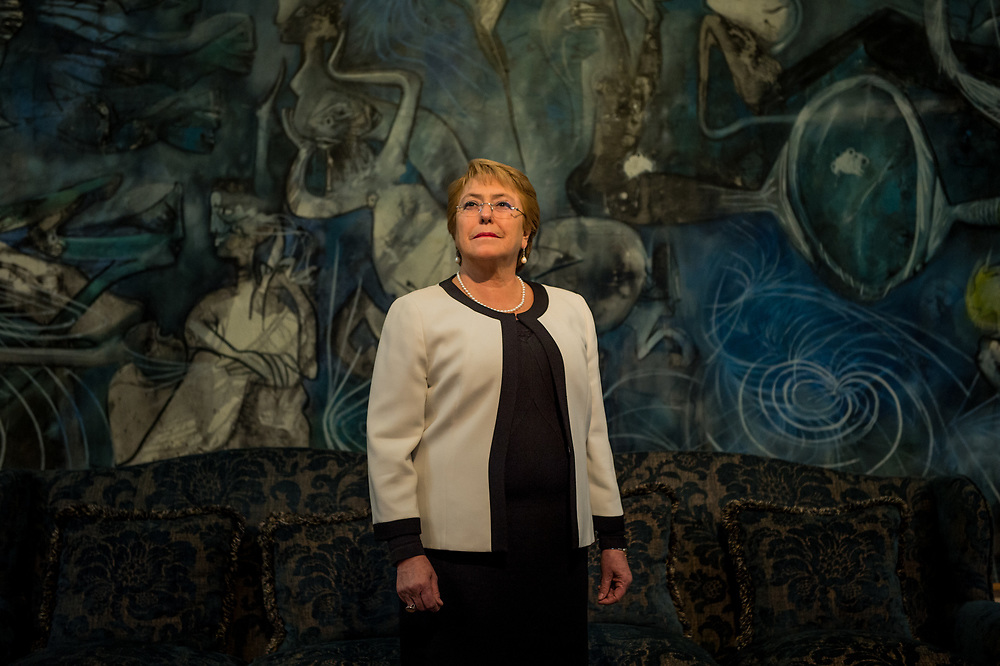 SANTIAGO, CHILE - JUNE 19, 2017: President of Chile, Michele Bachelet poses for a portrait during an interview with The New York Times at the Presidential Palace in Santiago. Ms. Bachelet, a pediatrician, began her government career working as an adviser in the health ministry, rising quickly to become Chile's first female health minister in 2000 and then its first defense minister in 2002. She went on to win her first presidential victory handily in 2005. While Ms. Bachelet was not the region's first female head of state, she was widely regarded as the first to get elected on her own merits, without riding the coattails of a politically powerful husband. Once in office, she moved swiftly to pass legislation that sought to curb workplace discrimination, protect victims of domestic violence and expand access to healthcare for women. During her second term, Ms. Bachelet created a ministry of women and gender equality with the goal of pushing through ambitious legislative initiatives, including the partial decriminalization of abortion and an electoral reform that would require that at least 40 percent of candidates for elected office be women. PHOTO: Meridith Kohut for The New York Times