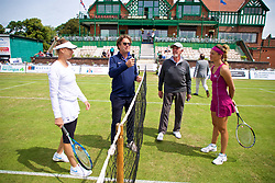 LIVERPOOL, ENGLAND - Saturday, June 23, 2018: Tournamnet director Anders Borg tosses the coin before the match between Vera Zvonareva (RUS) and Alexandra Cadantu (ROU) during day three of the Williams BMW Liverpool International Tennis Tournament 2018 at Aigburth Cricket Club. (Pic by Paul Greenwood/Propaganda)