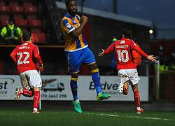 John Goddard of Swindon Town celebrates his goal - Mandatory by-line: Nizaam Jones/JMP - 07/01/2017 - FOOTBALL - County Ground - Swindon, England - Swindon Town v Shrewsbury Town - Sky Bet League One