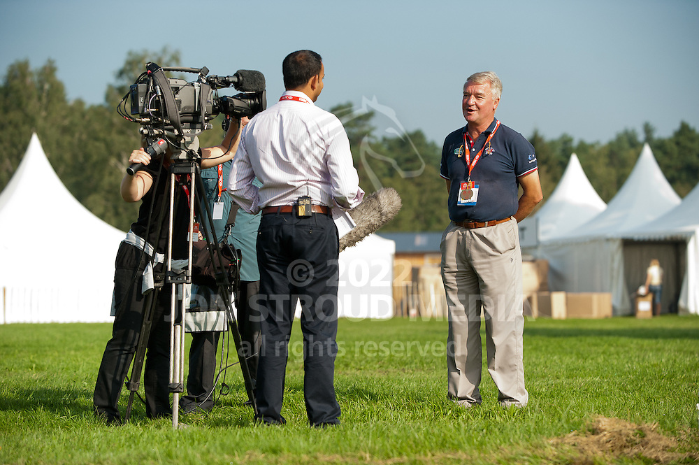Team GBR Eventing Performance Manager Yogi Breisner is interviewed by the BBC's Rishi Persad - European Eventing Championships 2011 - Lühmulen, Salzhausen, Germany - 24 August 2011