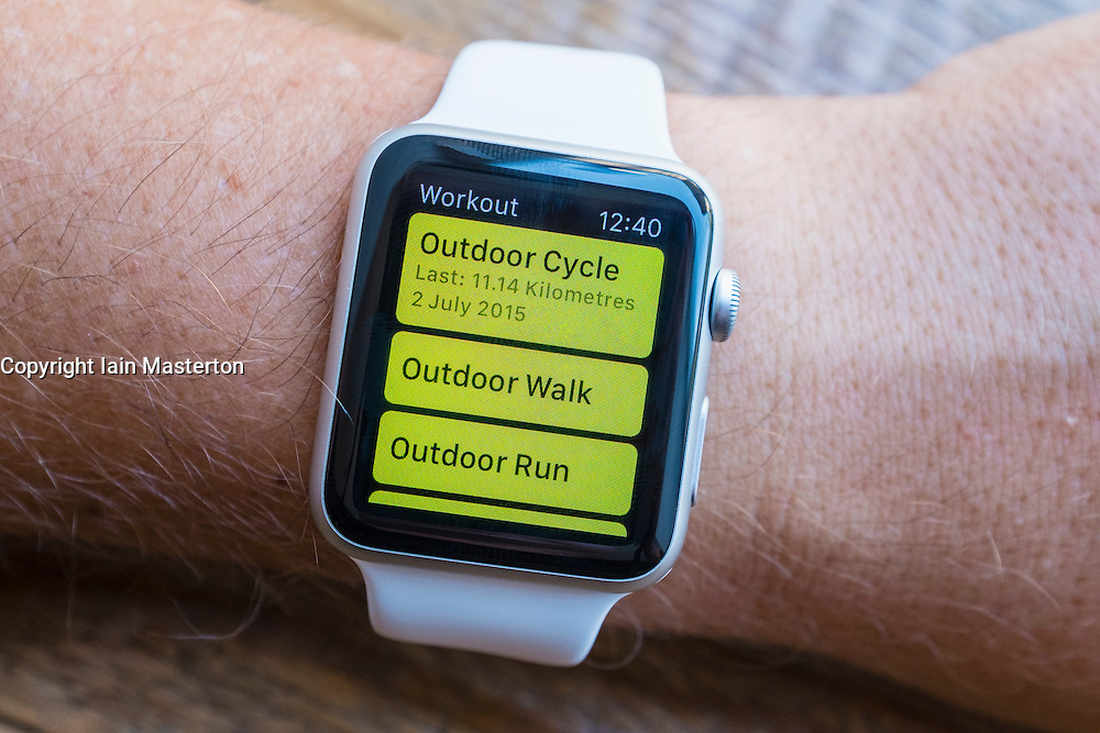 Fitness app showing exercise options on an Apple Watch