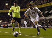 Photo: Olly Greenwood.<br />Tottenham Hotspur v FC Braga. UEFA Cup. 14/03/2007. Spurs Steed Malbranque and Braga's Carlos Fernandes