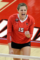 17 October 2015:  Ashley Rosch(15) during an NCAA women's volleyball match between the Southern Illinois Salukis and the Illinois State Redbirds at Redbird Arena in Normal IL (Photo by Alan Look)