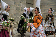 Runners-up congratulate Nolwenn Peuron, the 2016 Festival de Cornouaille Queen, left, on Sunday, July 24, 2016 in Quimper, France.