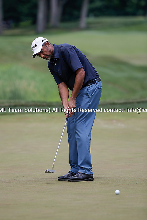 POTOMAC, MD - JULY 01:  Arjun Atwal putts on the 6th green during the third round of the Quicken Loans National at TPC Potomac at Avenel Farm in Potomac, MD.(Photo by Justin Cooper/Icon Sportswire)
