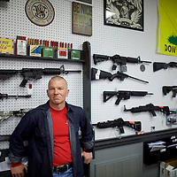 "SIMPSONVILLE, SOUTH CAROLINA: Mike Jones, 50, a gun shop manager, is undecided on a presidential candidate.  Jones said, ""Donald Trump does talk a good game, but there's not a lot of specifics.  At least he's voicing the frustration of everybody.  Everyone wants to elect a candidate for change, but it doesn't matter if you are a Republican or Democrat right now; no one is very happy with the way things are going."""