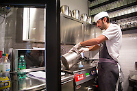 Rome, Italy - December 12, 2014: Making gelato at Come il Latte in Rome. Come il Latte is an artisnal gelateria that focuses on quality ingredients rather than outrageous flavors. CREDIT: Chris Carmichael for The New York Times