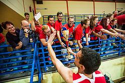 Stanko Sabic of KK Tajfun Sentjur with fans after winning supercup basketball match between KK Krka Novo mesto and KK Tajfun Sentjur at Superpokal 2015, on September 26, 2015 in SKofja Loka, Poden Sports hall, Slovenia. Photo by Grega Valancic / Sportida.com