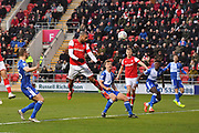 Rotherham United player Kyle Vassell (7) scores goal to go 1-0 during the EFL Sky Bet League 1 match between Rotherham United and Bristol Rovers at the AESSEAL New York Stadium, Rotherham, England on 18 January 2020.
