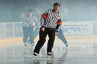 KELOWNA, CANADA - NOVEMBER 7:  Steve Papp, referee skates on the ice as the Edmonton Oil Kings play the Kelowna Rockets on November 7, 2012 at Prospera Place in Kelowna, British Columbia, Canada (Photo by Marissa Baecker/Shoot the Breeze) *** Local Caption ***
