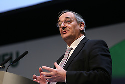 © Licensed to London News Pictures. 23/02/2016. Birmingham, UK. NFU president Meurig Raymond told farmers attending the NFU conference in Birmingham that he was worried about market uncertainty that could be caused by the forthcoming referendum on the UK's membership the European Union. He said he was also concerned about the possibility of farmers losing access to the single market. Photo credit : Ian Hinchliffe/LNP