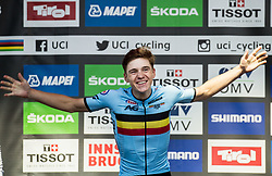 Podium / Remco Evenepoel of Belgium Gold medal / Celebration / During the Men Juniors Road Race a 132.4km race from Kufstein to Innsbruck 582m at the 91st UCI Road World Championships 2018 / RR / RWC / on September 27 , 2018 in Innsbruck, Austria.  Photo by Vid Ponikvar / Sportida