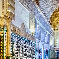 Interior Sala de los Pasos Perdidos, Alcoba Real, Real Alcazar, Seville, Spain.