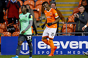 Blackpool forward Armand Gnanduillet (21) scores a goal and celebrates to make the score 1-0 during the EFL Sky Bet League 1 match between Blackpool and AFC Wimbledon at Bloomfield Road, Blackpool, England on 16 November 2019.
