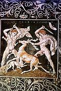 The Deer Hunt':  Alexander the Great (left) and Hephestion (Hephaestion), Alexander's boyhood friend, hunting deer.  Mosaic from the royal palace at Pella  4th century BC.
