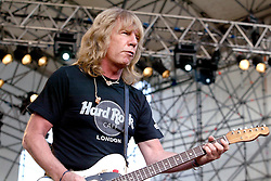Worldwide famous with british rock legends Status Quo, guitar player Rick Parfitt dies at 68 in Marbella's Hospital (Sain) for the consequences of a serious infection. File images with Quo's co-founder Francis Rossi, during a big show in Como, Italy, in 2004.<br /> 25 Dec 2016<br /> Pictured: Rick Parfitt and Status Quo.<br /> Photo credit: Bruno Marzi / MEGA<br /> <br /> TheMegaAgency.com<br /> +1 888 505 6342