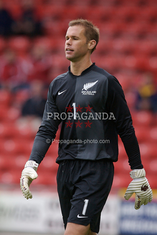 Wrexham, Wales - Saturday, May 26, 2007: New Zealand's goalkeeper Mark Paston in action against Wales during the International Friendly match at the Racecourse Ground. (Pic by David Rawcliffe/Propaganda)