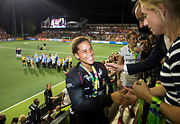 AMSTELVEEN - Keeper Aisling D'hooghe (Bel) kreeg de prijs voor de beste keeper  na de damesfinale Nederland-Belgie bij de Rabo EuroHockey Championships 2017. COPYRIGHT KOEN SUYK