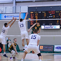 1st year middle Conal McAinsh (10) of the Regina Cougars In action during the Men's Volleyball Home Game vs Trinity Western  on October 28 at the CKHS University of Regina. Credit Matt Johnson/Arthur Images