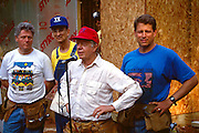Former President Jimmy Carter works on Habitat for Humanity house in Atlanta, Georgia. With Carter (left to right) are President Bill Clinton, Habitat for Humanity founder Millard Fuller and Vice President Al Gore Carter is a founding board member and a worldwide ambassador for the nonprofit. - To license this image, click on the shopping cart below -