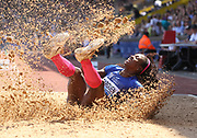 Caterine Ibarguen (COL) places second in the women's triple jump at 47-9¼ (14.56m) during IAAF Birmingham Diamond League meeting at Alexander Stadium on Sunday, June 5, 2016, in Birmingham, United Kingdom. The defeat ended a streak of 34 consecutive victories. Photo by Jiro Mochizuki