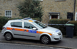 © under license to London News Pictures. 2011.02.22.  A police car in  front of the property. Police have launched a murder investigation today (Tues) after the battered body of an 86-year-old woman was found at her home in South East London. Officers were called to an address in Oakridge Road, Downham, Bromley, on Sunday evening amid concerns over the welfare of a resident. Picture credit should read Grant Falvey/LNP