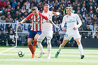Real Madrid Sergio Ramos and Gareth Bale and Atletico de Madrid Saul Niguez during La Liga match between Real Madrid and Atletico de Madrid at Santiago Bernabeu Stadium in Madrid, Spain. April 08, 2018. (ALTERPHOTOS/Borja B.Hojas)
