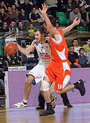 Pankracije Barac (7) and Stefan Markovic (9) during first semi-final match of Basketball NLB League at Final four tournament between KK Zadar, Croatia and Hemofarm Stada, Vrsac, Serbia, on April 25, 2008, in Arena Tivoli in Ljubljana. Match was won by Hemofarm Stada, who defeated KK Zadar with 81:72. (Photo by Vid Ponikvar / Sportal Images)