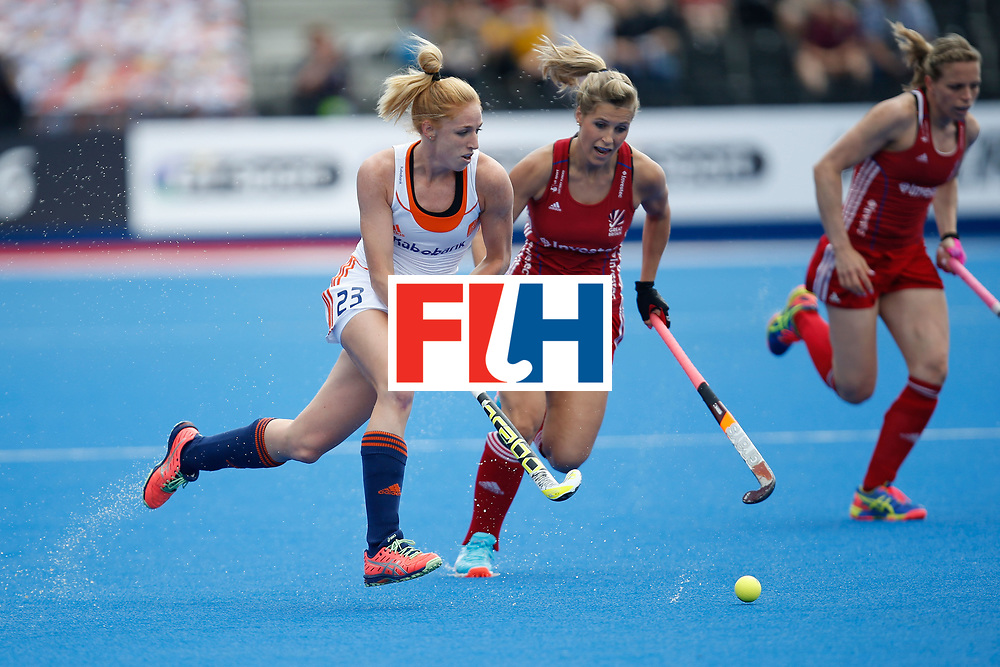 LONDON, ENGLAND - JUNE 19:  Margot van Geffen of the Netherlands goes past Georgie Twigg of Great Britain during controls a pass the FIH Women's Hockey Champions Trophy 2016 match between the Netherlands and Great Britain at Queen Elizabeth Olympic Park on June 19, 2016 in London, England.  (Photo by Joel Ford/Getty Images)