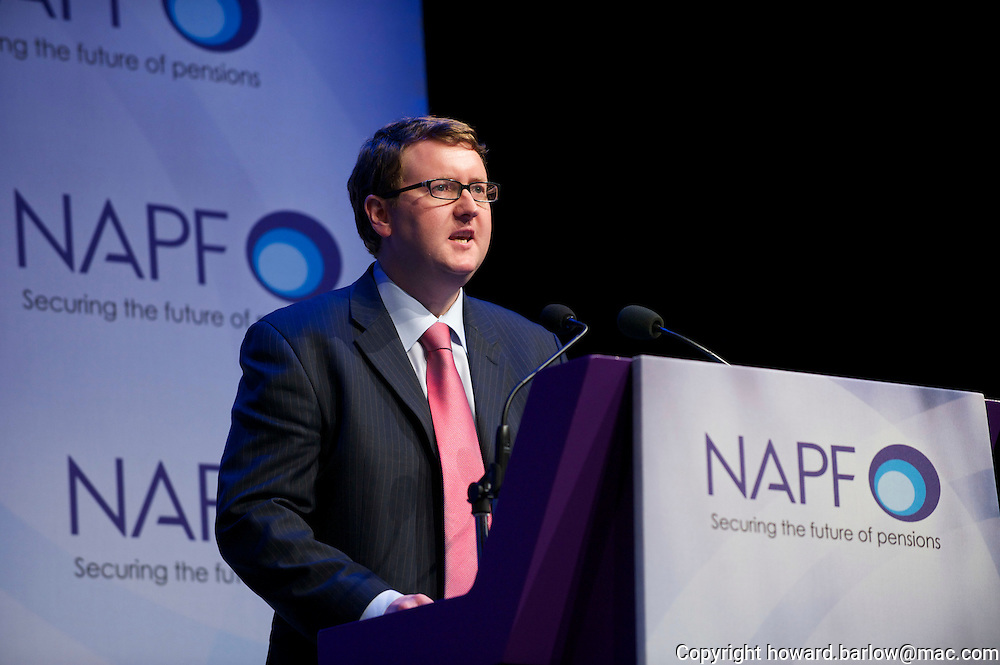 GREGG McCLYMONT Shadow Pensions Minister speaking at NAPF conference in Manchester