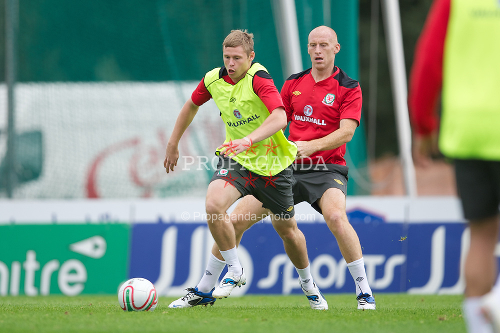 NEWPORT, WALES - Tuesday, August 30, 2011: Wales' Simon Church and James Collins during a training session at the Newport Stadium ahead of the UEFA Euro 2012 Qualifying Group G match against Montenegro. (Pic by David Rawcliffe/Propaganda)