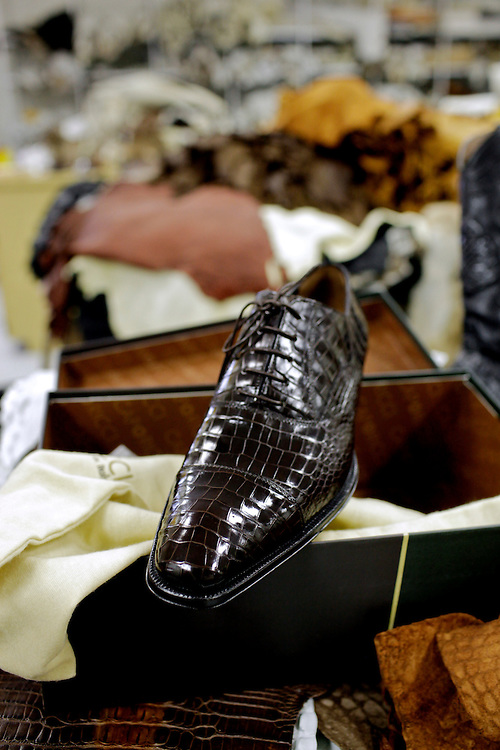 A $2,000 pair of alligator-skin shoes is one of the many products produced at Sebring Custom Tanning. The industry is a maze of businesses in Florida, the southeastern United States, Europe and Southeast Asia, though the U.S. market has been shaken by a paradigm shift within the exotic skins trade and was pummeled in the recession.