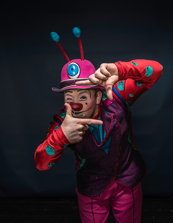 BALTIMORE, MD -- 4/28/17 -- Victor Rossi is an eighth generation clown from Monaco. He grew up performing in the Monte Carlo Festival and has traveled the world performing. Ringling Bros, the self-proclaimed Greatest Show on Earth, is in the final leg of a 146 year run. The final performances will be held in May. Out of This World, one of two circus units, recently had performances in Baltimore, led by Jonathan Lee Iverson, the first African-American ringmaster in the show's history…by André Chung #_AC15365