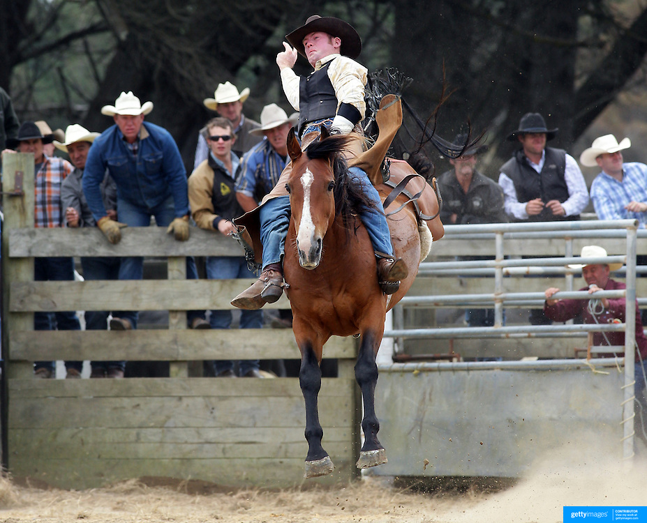 Stuart de Ridder from Geraldine in action during the Open Bareback competition at the Southland Rodeo, Invercargill,  New Zealand. 29th January 2012